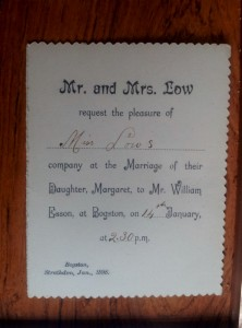 1898 William Esson and Margaret Low wedding invite